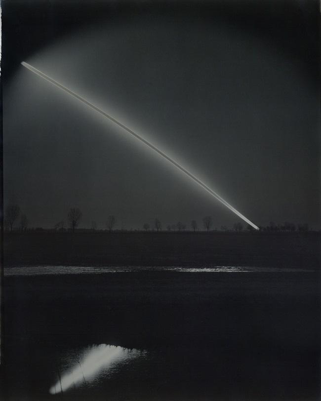 Gelatin silver paper #380 (winter sunrise over the fields). 16x20 inches. Unique, 2021.
