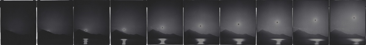 Burning Time #160 (Sunset over Pai). Ten 4x5 inches each gelatin silver papers. Unique, 2017.